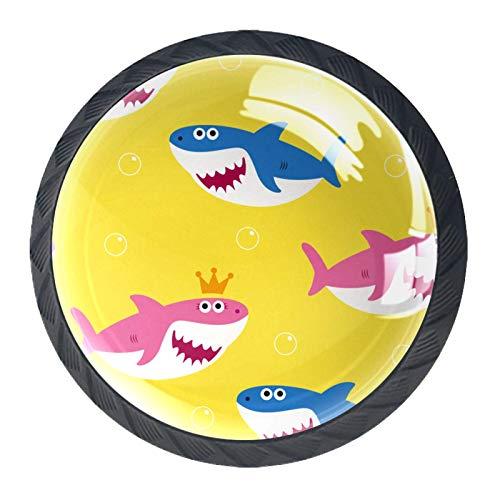 Juego de 4 tiradores de cajón y pomos para cajones con tornillos de cristal para cajón de cajón de cristal y tirador de puerta de cocina, accesorios de armario de dibujos animados, corona de tiburón