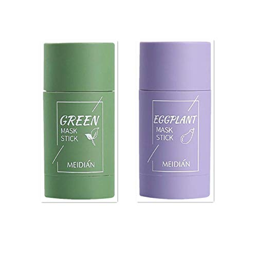 DAY8 Grüner Tee Purifying Clay Stick Mask Gesichtsmaske, Stick Deep Cleansing Ölkontrolle Anti-Akne-Maske Fine Solid Mask Green Tea, Auberginen Mitesserentferner Gesichtsmaske Poren schrumpfen