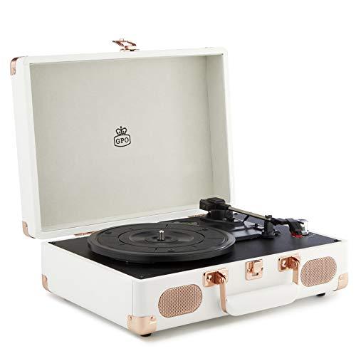 GPO Soho Reproductor de vinilos Retro con diseño de maletín, 3 velocidades, tocadiscos de vinilo - Blanco