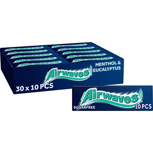 Wrigleys Airwaves Menthol & Eucalyptus Dragees, Kaugummi, 30 Packungen 10 Kaugummis ( 30x10 )