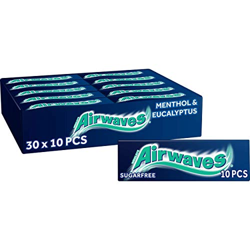 AIRWAVES Menthol and Eucalyptus Sugar Free Chewing Gum 10 Pellets (Pack of 30)