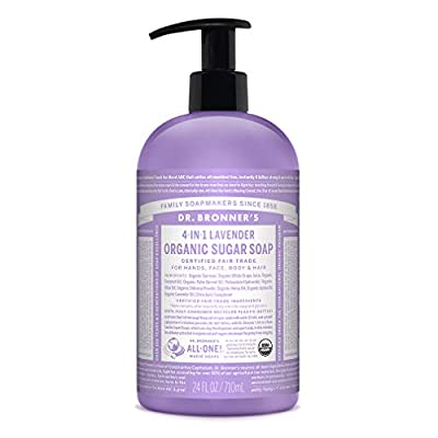 Dr. Bronner's - Organic Sugar Soap (Lavender, 24 Ounce) - Made with Organic Oils, Sugar and Shikakai Powder, 4-in-1 Uses: Hands, Body, Face and Hair, Cleanses, Moisturizes and Nourishes, Vegan