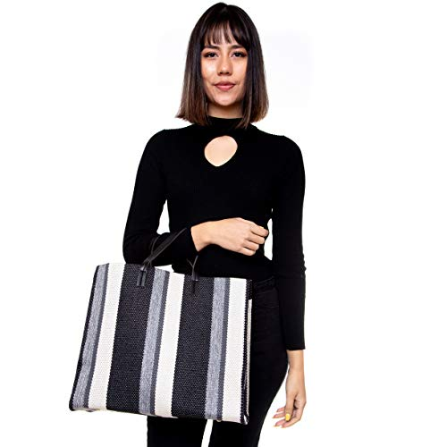 Pretty Persuasions Beach Tote Bag Canvas Nautical Shopper Striped Summer (Black)