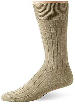 Chaps Men s Solid Rib Casual Crew Socks with Embroidered Logo  3 Pack  Khaki Shoe Size  10-13