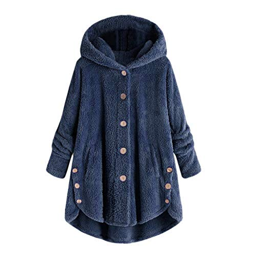 MRULIC Damen Winter Wärme Softshell Pullover Flauschige Kapuzenpullover Mantel Fleece Fell Hoodie Sweatshirt Mantel Parka (EU-40/CN-L, A-Marineblau)