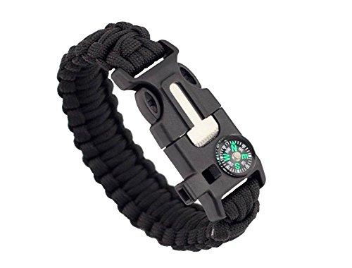 ZENDY Paracord Bracelet Corde avec racleur Firestarter Inoxydable et Un sifflet et Une Boussole Multifonction Survie en Plein air (3)