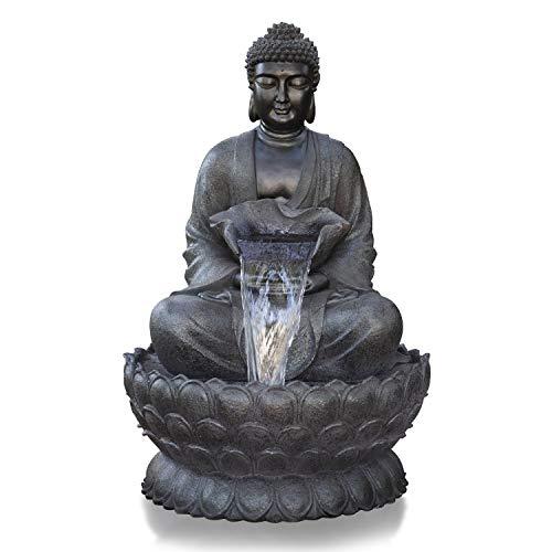Alpine Corporation Meditating Buddha Fountain - Outdoor Decor for Garden, Patio, Deck, Porch - Yard Art Decoration