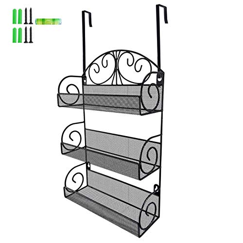 Giftgarden 3 Tier Metal Spice Rack with 2 Hooks for Kitchen,...