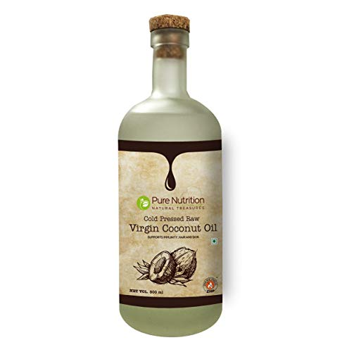Pure Nutrition Raw Cold Pressed Virgin Coconut Oil - 500 ml Glass Bottle | Hair, Skin, Massage & 100% Edible