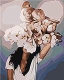 Belleza y flores Pintar por Numeros Adultos Niños DIY Pintura por Números con Pinceles y Pinturas 16 * 20 Pulgadas, Sin Marco
