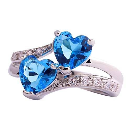 Emsione Vintage 925 Sterling Silver Plated Halo CZ Double Heart Created Blue&White Topaz Love Wedding Promise Ring