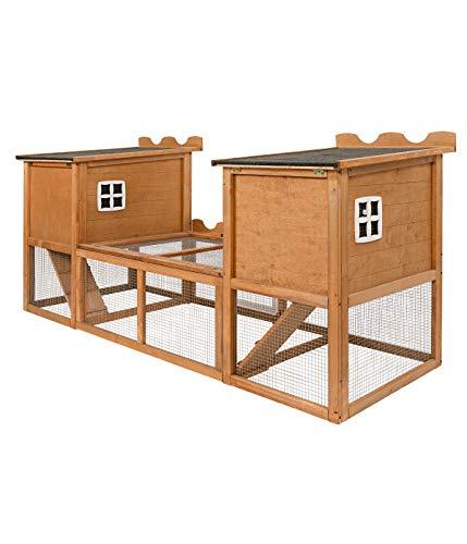 Dehner Kaninchenstall Happy Home Hasenburg, mit Freigehege, 200 x 79.5 x 100 cm, FSC® Holz/Bitumen, Hellbraun