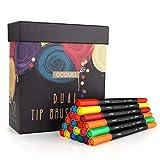 Set di 36 pennarelli a doppia punta per acquerello disegno e lettering con pennello e punta fineliner colorazione GC per riviste e calligrafia per bambini e adulti GC-36W
