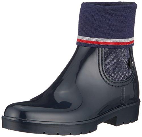 Tommy Hilfiger Damen Knitted Sock RAIN Boot Gummistiefel, Blau (Midnight 403), 40 EU