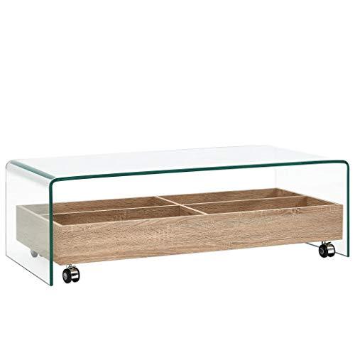 Festnight Mesa de Centro de Vidrio Templado Transparente Mesa Salon Mesa Comedor Cristal con 4 Compartimentos de Almacenaje 98x45x31 cm