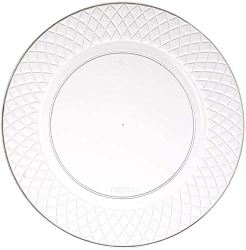 100 Clear Plastic Plates - 6.25 Inch Disposable Plates   Fancy Dessert Plates   Hard Round Party Plates   Elegant Appetizer Plates   Heavy Duty Wedding Plates   Small Cake Plates [Diamond]