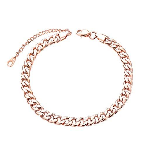 CASSIECA Edelstahl Fußkette für Damen Herren Curb Panzerkette Fußkettchen Armband Kubaner Biker Punk Silber/Gold/Rosé Gold