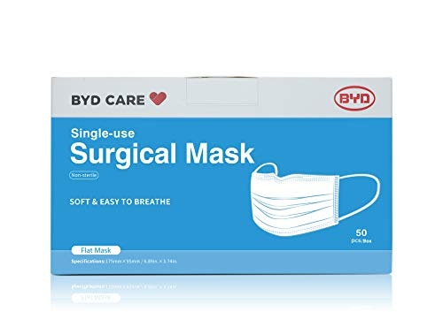 BYD CARE Single Use Disposable 3-Ply Surgical Mask Level 2, Box of 50 PCs