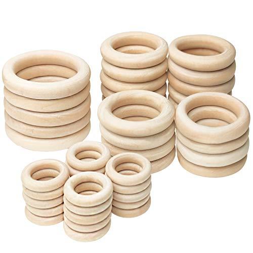 Koytoy Holzring 45 Stück Natürliche Holz Ringe für DIY Schmuckherstellung Gardinenringe Makramee Handwerk Anhänger Hängende Dekoration Ring