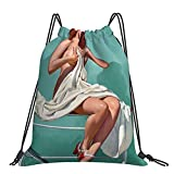 Redhead Patient Pinup Girl Sexy Retro Art Prints Drawstring Rucksack Sport Gym Bag Unisex Jungen Of Outdoor Yoga Gym Schwimmen Reisen Strand Sackpack Einheitsgröße