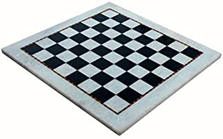 """StonKraft 15"""" X 15"""" Collectible White Natural Stone & Marble Chess Board Without Pieces - Appropriate Wooden & Brass Chess..."""