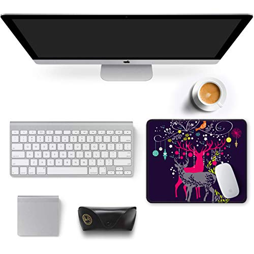 """Auhoahsil Mouse Pad, Square Moose Theme Anti-Slip Rubber Mousepad with Stitched Edges for Office Gaming Laptop Computer Men Women, Beautiful Custom Pattern, 11.8"""" x 9.8"""", Deer and Christmas Tree Photo #2"""