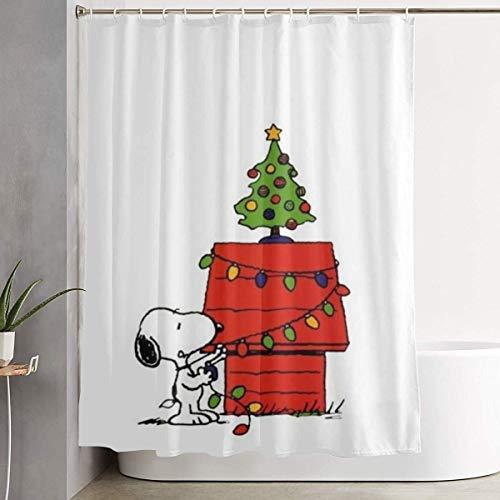 liangchunmei Lustiger Stoff Duschvorhang Snoopy Xmas wasserdichtes Badezimmer Dekor mit Haken 60 x 72 Zoll