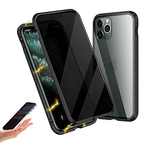 Privacy Magnetic Case Compatible with iPhone 12/12 Pro, Anti-peep Magnetic Adsorption Case, Front & Back Tempered Glass Full Screen Coverage, Thin 360 Full Protective Phone Case for 12/12 Pro, Black