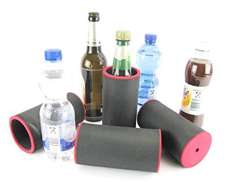 asiahouse24 4 enfriadores de bebidas, color negro, para botellas de cerveza de 0,5 l, de neopreno de 5 a 6 mm de grosor para mejor refrigeración, modelo 2021