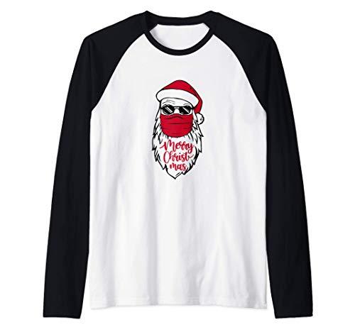 Santa Wearing Mask Merry Quarantined Christmas Xmas Gift Raglan Baseball Tee