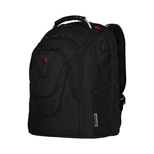 "WENGER 606493 IBEX BALLISTIC DELUXE 14""/16"" Expandable Laptop Backpack, Padded laptop compartment with SmartCharge USB Port In Black {26 Litres}"
