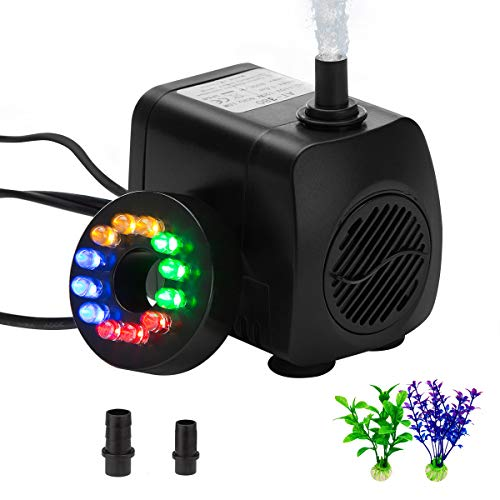 Fountain pump Submersible Water pump Kit with LED Light 220 GPH Waterproof Silent outdoor Pond pump Small Aquarium pump for Hydroponic Aquarium Air Fish tank with Decorations Plants Sunterra