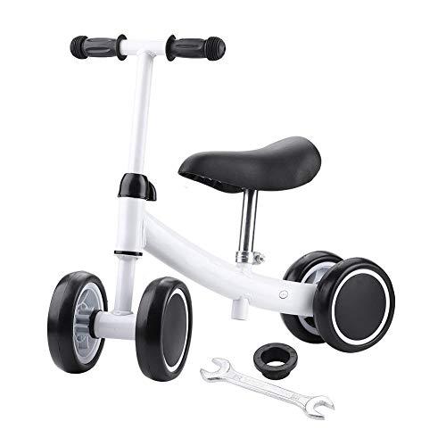 TAKE FANS Baby Balance Bike Bicicleta Niños Walker Ajustable Paseo al aire libre Niño Para 1 año de edad, Sin Pedal 4 Ruedas Bicicleta Infantil Primer Cumpleaños Regalos (Blanco)