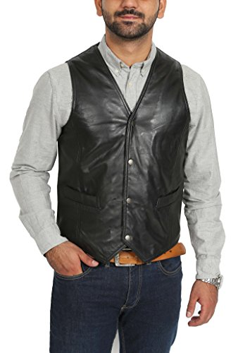 House Of Leather Chaleco clásico Cuero Real para Hombre
