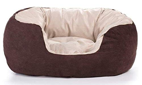 Goldkids Hondenbed, hondenkussen, hondenmand, hondensofa, hondendeken, kattenbed, hondenmand, dierbed met hoge rand, M-L, Large, bruin