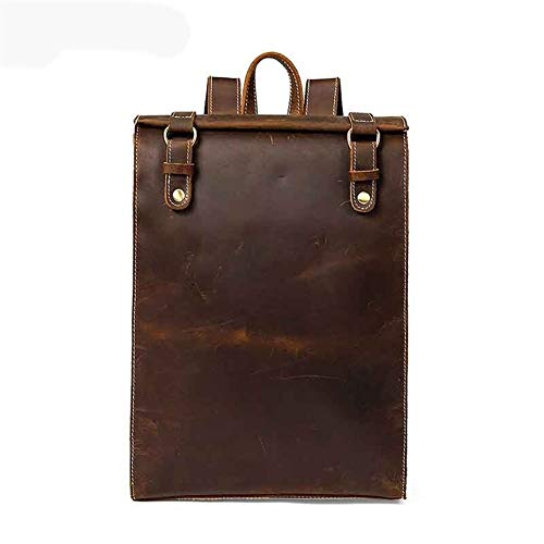 Glqwe Ergonomischer Rucksack, Männer Screwball Pferd Leder Geschäft Schultertasche Männer Rind Retro Reisetasche Wörtliche Leder Rucksäcke (Color : Brown, Size : S)