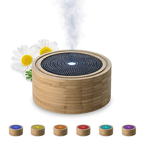 Medisana AD 625 Diffuseur d'arômes en bambou, nébuliseur en bois avec lumière de bien-être en 6 couleurs, pour huiles essentielles parfumées, lampe parfumée avec minuterie, 100 ml