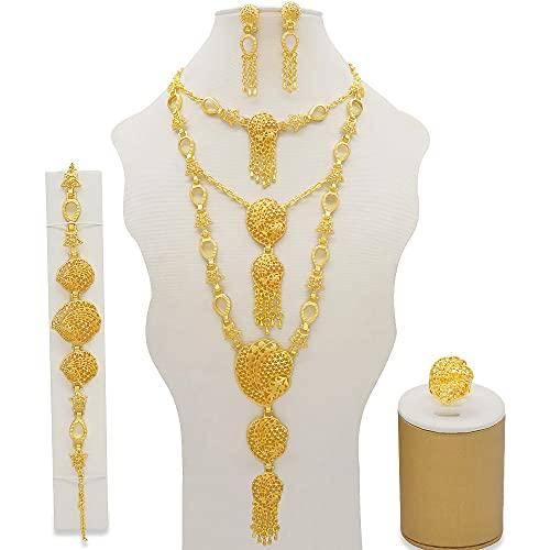 QXZ-WOLFBERRY India Dubai Gold Jewelry Conjuntos, Collares Pendientes Pulsera Anillo Mujeres Chicas Africano Árabes Accesorios Regalos de la Boda Hawaiana (Metal Color : BJ846)