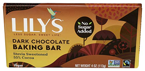 Dark Chocolate Baking Bar by Lily`s Stevia Sweetened, No Added Sugar, Low-Carb, Keto Friendly | 58% Cocoa | Fair Trade, Vegan, Gluten-Free & Non-GMO |4 Ounce (Pack of 1)