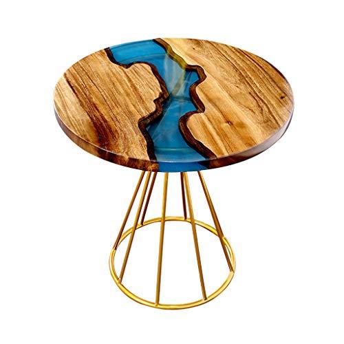 北欧のコーヒーテーブル、クルミ材の樹脂のリバーサイドテーブル、シンプルな小さな丸テーブル、小さなアパートのバルコニー用、リビングルーム(60×60×63cm)
