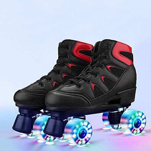 Longxs Damen PU Schlittschuhe, Eisbahn professionelle Coole LED blinkende Rollschuhe Zweireihige Rollschuhe Erwachsenensport für Mädchen und Jungen-44