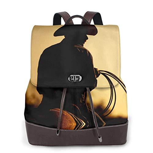 Mochila de piel para mujer, estilo casual, duradera, estilo vaquero con lazo, diseño de silueta impresa, bolso de viaje
