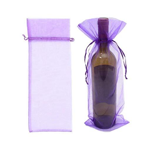 Case Cover 10 Stück Organza Wein-Flaschen-Geschenk-Beutel Kordelzug Für Weihnachten Hochzeit Geburtstag-Feiertags-Party Supplies-Geschenk-Beutel (lila)