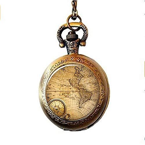 Collar de reloj de bolsillo hecho a mano, diseño de mapa del mundo, para regalo de viajero