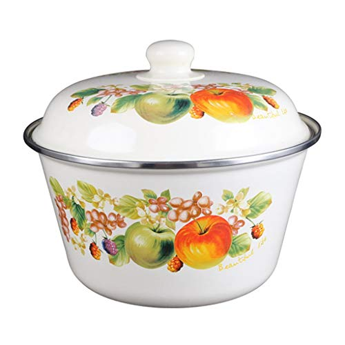 Mixing Bowls Set/Mixing Bowl White Enamel Mixing Bowl Soup Bowl Noodle Bowl Lunch Box Thicken Heighten Material Elegant Color Pattern Appearance 4 Sizes Great reward (Color : C, Size : 2L)