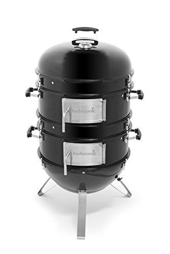 barbecook Räucherofen Smoker für kalt und heiß räuchern mit Temperatur-Sonde und regulierbarer Luft-Zufuhr, schwarz, 75 x 75 x 117 cm