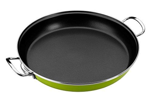 Monix Lima - Paellapfanne aus emailliertem Stahl mit Antihaftbeschichtung Teflon® Classic, 36cm, Grün