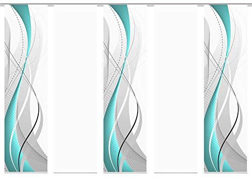 wohnfuehlidee 5er-Set Flächenvorhang, Deko Blickdicht, WuXi, Höhe 245 cm, 3X Dessin /2X Uni transparent, Fb. Petrol/weiß