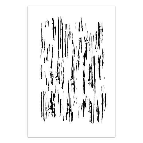 U/N Pinturas abstractas en Lienzo, Arte de Pared en Blanco y Negro, Puntos, Rayas, Pinceladas, Trazos de Pintura, Cuadros de Pared, Sala de Estar-3