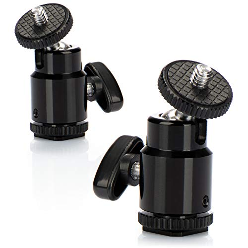 com-four® 2X Mini Stativkopf mit Kugelkopf/Tripod Mini Ball Head mit 1/4